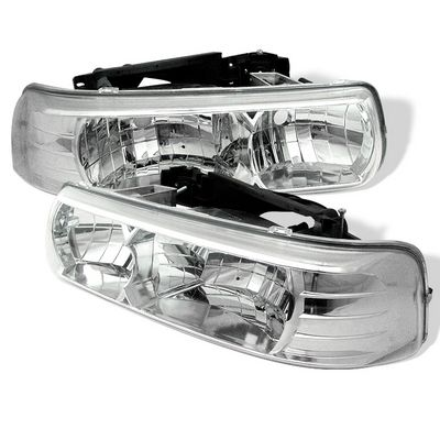 Chevy Silverado 1999-2002 Chrome Crystal Headlights
