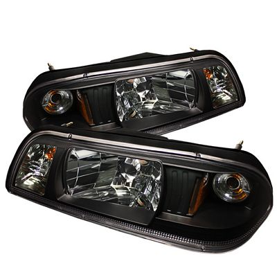 Ford Mustang 1987-1993 Black Euro Headlights