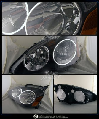Acura RSX 2002-2004 Black Euro Headlights with Chrome Trim
