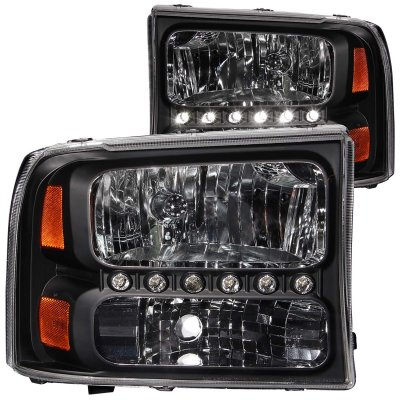 Ford F250 Super Duty 1999-2004 Black Crystal Headlights with LED