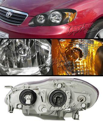 Toyota Corolla 2003-2007 TYC Black Euro Headlights
