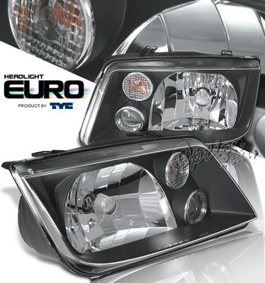VW Jetta 1999-2004 TYC Black Euro Headlights