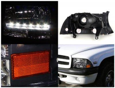 Dodge Dakota 1997 2004 Black Headlights Led Drl