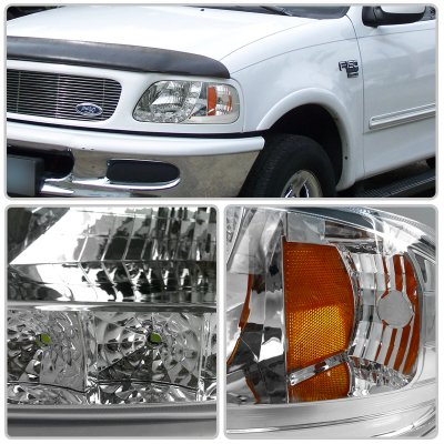 Ford F150 1997-2003 Crystal Headlights Chrome LED DRL