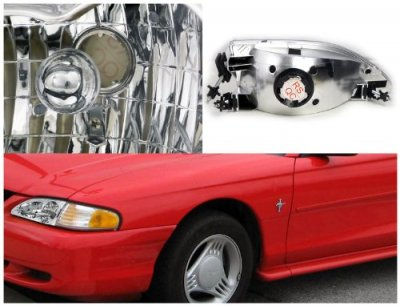 Ford Mustang 1994-1998 Chrome Custom Headlights