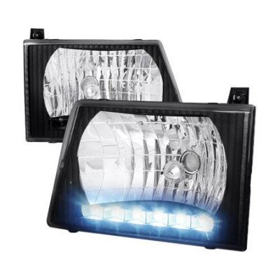 1997 Ford Econoline Van Black Custom Headlights LED
