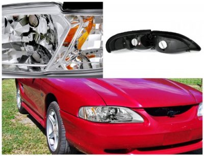 1994 Ford Mustang Clear Euro Headlights