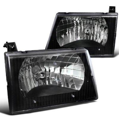 1997 Ford Econoline Van Black Custom Headlights