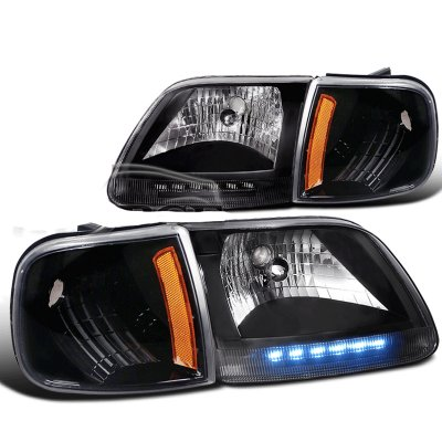 Ford F150 1997-2003 Black Crystal Headlights with LED and Corner Lights