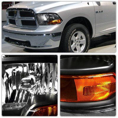 Dodge Ram 3500 2010-2018 Crystal Headlights Black