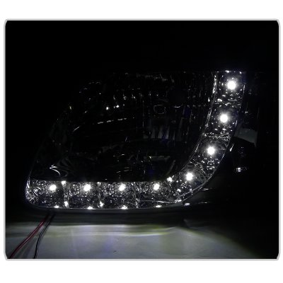 Ford F150 1997-2003 Crystal Headlights Black LED DRL