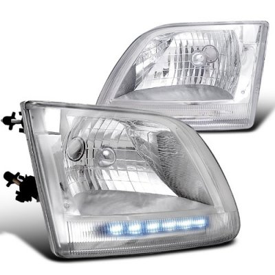 Ford F150 1997-2003 Chrome Crystal Headlights LED DRL