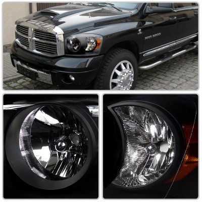 Dodge Ram 2500 2006 2009 Black Euro Headlights
