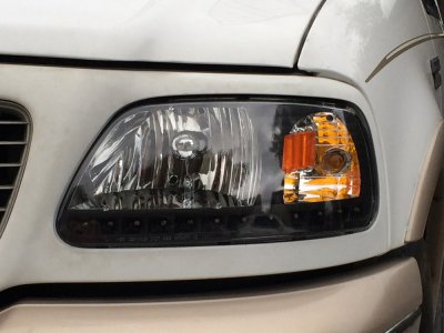 Ford Expedition 1997 2002 Black Chrome Headlights Led Drl