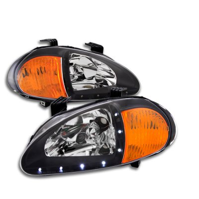 Honda Del Sol 1993-1997 Black Euro Headlights with LED DRL