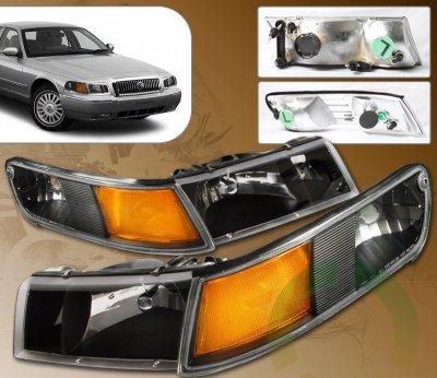 Mercury Grand Marquis 1998 2002 Black Euro Headlights
