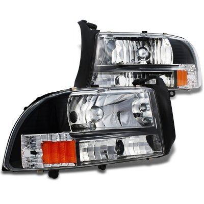 Dodge Dakota 1997-2004 Black Headlights One Piece