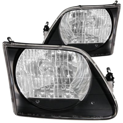 2002 Ford F150 Crystal Headlights Black