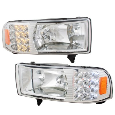 Dodge ram 2500 1994 2001 clear euro headlights with led corner dodge ram 2500 1994 2001 clear euro headlights with led corner lights sciox Gallery