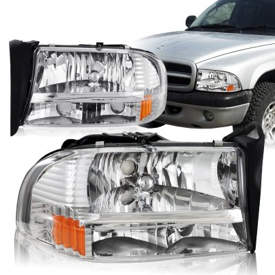 Dodge Dakota 1997 2004 Chrome Headlights One Piece