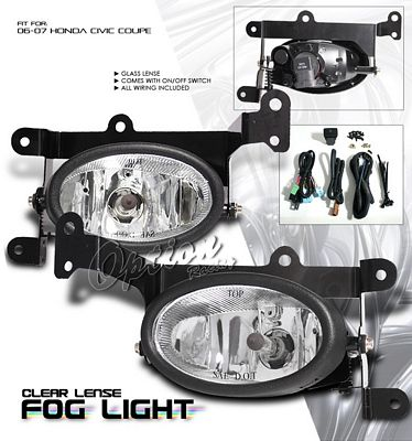 Honda Civic Coupe 2006-2008 Clear Fog Lights Kit