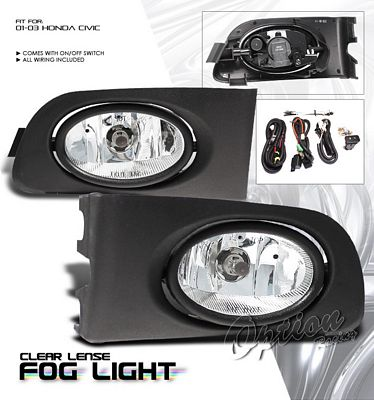 Honda Civic 2001-2003 Clear OEM Style Fog Lights
