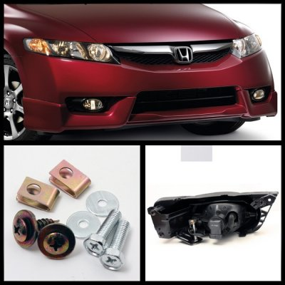 Honda Civic Sedan 2009 2011 Clear Fog Lights Kit