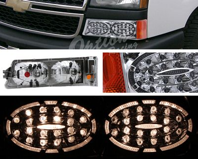 Chevy Silverado 2003-2006 Chrome LED Style Bumper Lights