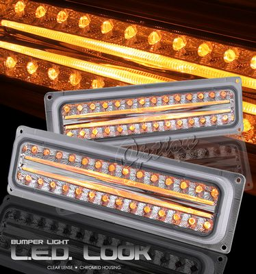 Chevy Suburban 1994-1999 Clear LED Style Front Bumper Lights