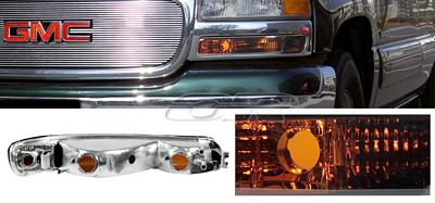 GMC Sierra 1999-2006 Smoked Amber Front Bumper Lights