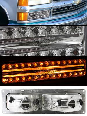 Chevy 1500 Pickup 1994-1998 Clear LED Style Front Bumper Lights