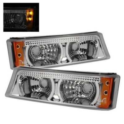 Chevy Silverado 2003-2006 Clear Bumper Lights with LED
