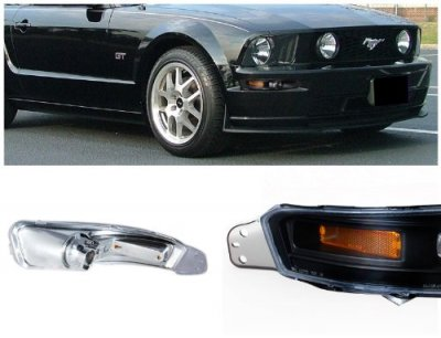Ford Mustang 2005-2009 Black Front Bumper Lights