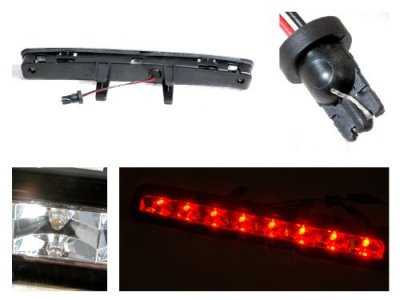Ford Mustang 2005-2009 Clear LED Third Brake Light Black Trim