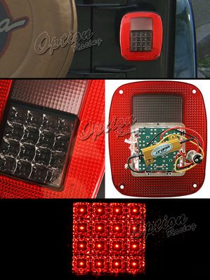 Jeep Wrangler 1987-2006 Red and Smoked LED Tail Lights