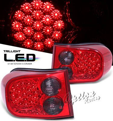 Toyota FJ Cruiser 2007-2010 Red and Smoked LED Tail Lights