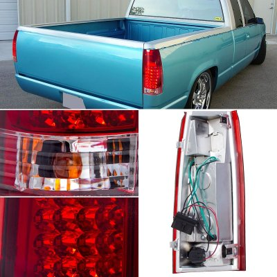 Chevy 3500 Pickup 1988-1998 LED Tail Lights Red and Clear
