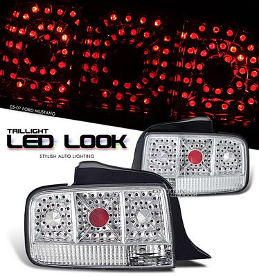 Ford Mustang 2005-2009 Clear LED Look Tail Lights