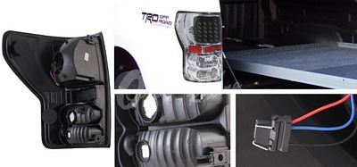 Toyota Tundra 2007-2011 Black and Clear LED Tail Lights