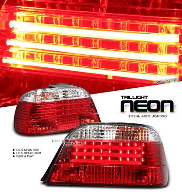 BMW E38 7 Series 1995-2001 Red and Clear Neon Tube LED Tail Lights