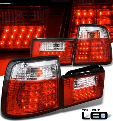 Bmw E34 5 Series 1989 1994 Red And Clear Led Tail Lights