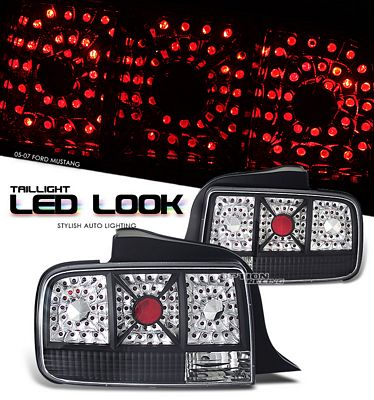 Ford Mustang 2005-2009 Black LED Look Tail Lights