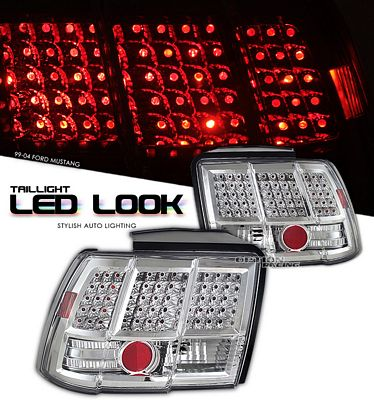 Ford Mustang 1999-2004 Clear LED Look Tail Lights