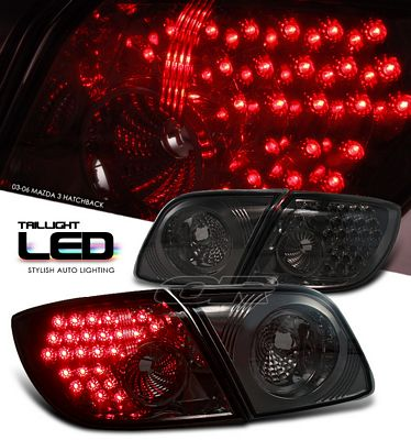 Mazda 3 Sedan 2004-2006 Smoked LED Tail Lights