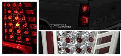 Chevy Suburban 2007-2010 Black and Clear LED Look Tail Lights