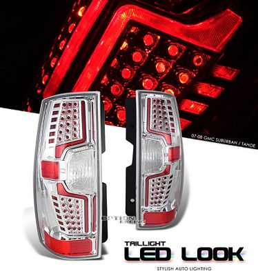 Chevy Tahoe 2007-2008 Clear LED Look Tail Lights