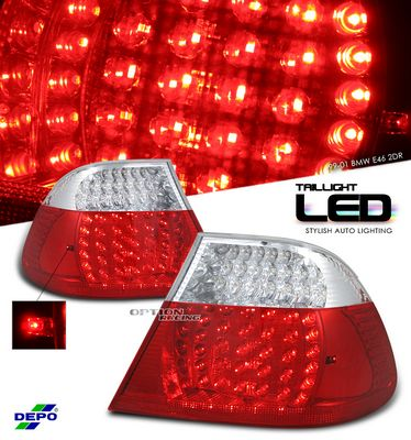 BMW E46 Coupe 3 Series 1999-2001 Red and Clear LED Tail Lights