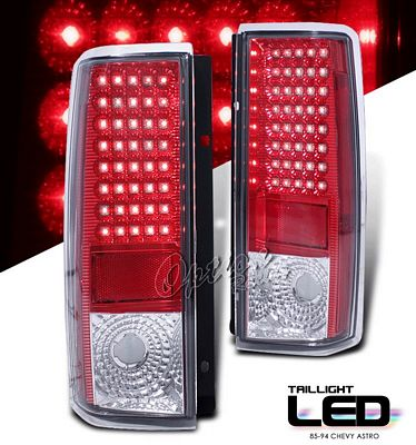 Chevy Astro 1985 1994 Red And Clear Led Tail Lights
