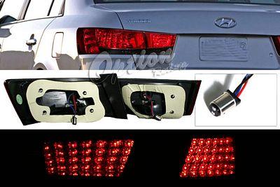 Hyundai Sonata 2006-2007 Red and Smoked LED Tail Lights