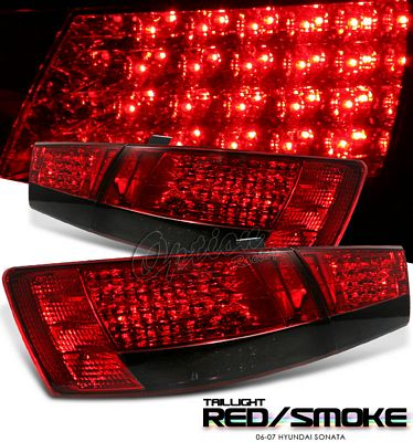 Hyundai Sonata 2006-2007 Red and Smoked LED Tail Lights